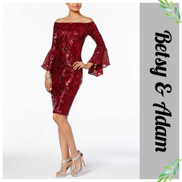 8995580434 Betsy   Adam Red Sequin Bell Sleeve Dress